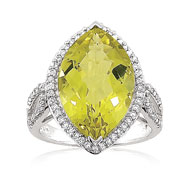 14K White Gold .42ct Diamond & 8.56ct Lemon Quartz Pointed Split-Design Fancy Large Ring