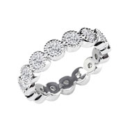 14K White Gold 3ct Burnished Milgrain Eternity Band G-H SI
