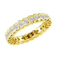 14K Yellow Gold 1ct Half-Bezel Eternity Band G-H SI