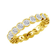 14K Yellow Gold 1ct Overlapping Bezel Eternity Band G-H SI