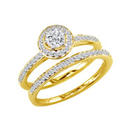 14K Yellow Gold 1/2ct Round Diamond Bridal Ring Set