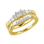 14K Yellow Gold 1.0ct 3-Diamond Bridal Ring Set