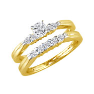 14K Yellow Gold 1.0ct Round Traditional Diamond Ring Bridal Set