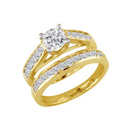14K Yellow Gold 1.0ct Round  Pave' Channel Bridal Ring Set