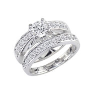 "14K White Gold 1.0ct Round ""M"" Peaked Bridal Ring Set"