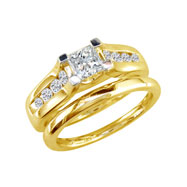 14K Yellow Gold 1.5ct Princess Cut Diamond Peaked Bridal Ring Set