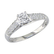 14K White Gold  1 1/4ct  Center With Pave' Shoulder Diamond Ring