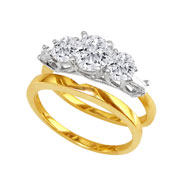 14K Two-Tone Gold 1/2ct 3-Diamond Bridal Ring Set With 1/4ct Diamond Center