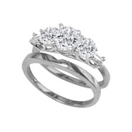 14K White Gold 1.29ct Diamond Bridal Ring Set With .65ct Diamond Center