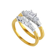 14K Two-Tone Gold 1ct Diamond Bridal Ring Set With .40ct Princess Cut Center