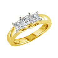 14K Yellow Gold 1.5ct Diamond Princess Cut  Side Ring G-H SI3-I1
