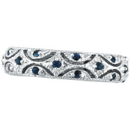 14K White Gold Sapphire Eternity Band Ring