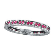 14K White Gold Fancy Pink Sapphie Stackable Eternity Ring