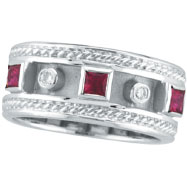 14K White Gold Antique Style Ruby & .06ct Diamond Ring