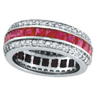 14K White Gold 3-Tier 4.42ct Ruby and 1.28ct Diamond Eternity Band Ring