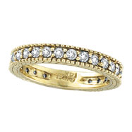 14K Yellow Gold Thin 1.0ct Diamond Eternity Band Ring