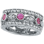 14K White Gold .63ct Pink Sapphire and 1.51ct Diamond Eternity Ring Band