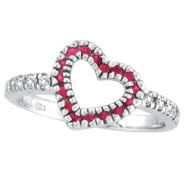 14K White Gold .25ct Pink Sapphire & .19ct Diamond Heart-Shaped Ring