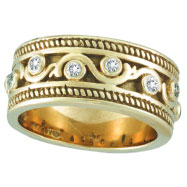 18K Yellow Gold Antique Rustic Style .24ct Diamond Band Ring