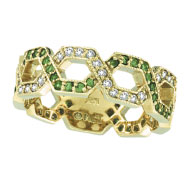 14K Yellow Gold .37ct Tsavorite & .34ct Diamond Open Hexagonal-Shaped Eternity Ring