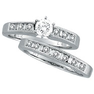 14K White Gold .40ct Center Diamond & .91ct Baguette & Round Diamond Bridal Ring Set H-I SI2