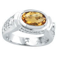 14K White Gold 1.65 Citrine & .22ct Diamond Oval-Shaped Ring