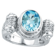 14K White Gold 2.5ct Oval Blue Topaz & .56ct Diamond Wave Design Ring