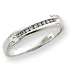 10k White Gold .12ct Diamond Trio Mens Wedding Band ring