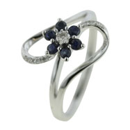 14K White Gold Blue Sapphire & Diamond Ring