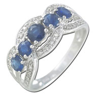14K White Gold Blue Sapphire Ring with Diamonds Ring