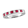 14K White Gold .56ct Ruby & .23ct Diamond Princess Cut Band Ring SI1-SI2 G-H