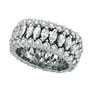 18K White Gold Eternity 4.42ct Diamond Marquise Triple Row Ring SI1-SI2 G-H