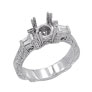 18K White Gold .65ct Diamond Semi Mount Antique Style Ring Setting SI1-SI2 G-H