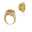 14K Two-Tone Gold Citrine And Diamond Ring