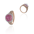 14K Rose Gold Quartz Dome Over Pink Sapphires & Diamonds Ring