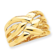 14K Gold High Polished Woven Dome Ring