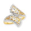 14K Gold & Rhodium Diamond-cut Heart Accent Bypass Ring