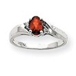 14K White Gold Garnet & .02ct Diamond Birthstone Ring