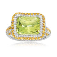 14K White Gold Diamond, Yellow Sapphire & Lemon Quartz Rectangular Design Trimmed Ring