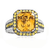 14K Two-Tone Gold Diamond, Citrine & Yellow  Sapphire Antique Style Domed Trimmed Ring
