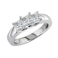 14K White Gold .25ct Diamond Princess Cut  Side Ring H-I I2