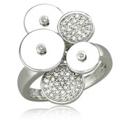 14K White Gold & Diamond Circle Ring