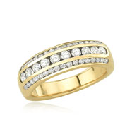 14K Yellow Gold 3/4ct Round Channel Set Diamond Row Wedding Band