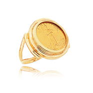 14K Yellow Gold 1/10oz Round Bezel-Mounted American Eagle Coin Ring
