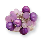 Sterling Silver Freshwater Cultured Purple Pearl And Rose, Lavender Quartz Ring