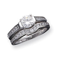Sterling Silver 2-Piece CZ Wedding Set Ring