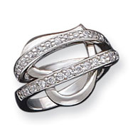 Sterling Silver CZ Captured Heart Ring