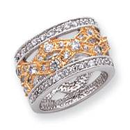 Sterling Silver & Vermeil Fancy CZ Ring