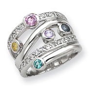 Sterling Silver Multicolored CZ Ring