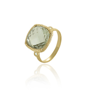 18K Yellow Gold Green Amethyst & Diamonds Ring
